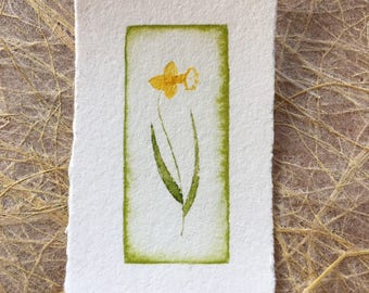 pocket art watercolor print - daffodil