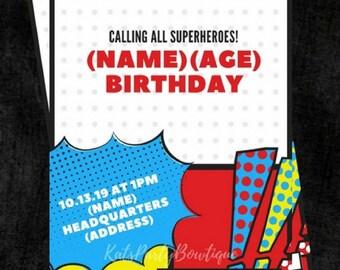 Superhero Personalized Birthday Invitation