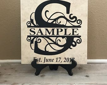 Personalized Tiles, Established Sign, Wedding Gifts, Last Name Sign, Established Sign, Name Sign, Name Plaque, Family Established Sign