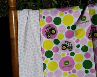 John Deere - Pink - Flannel Blanket - Handmade - Farm Girl - Oversized Swaddler - Designer Baby - Farm Baby, Farm, Tractor Girl