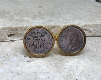 1938 sixpence coin cufflinks - 80th birthday gift- gold plated surround
