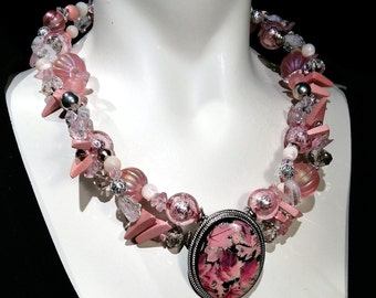 Statement pink choker, bold necklace, with all new glass beads and Vintage center stone, perfect gift or wedding
