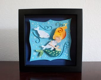ORIGINAL Paper Art with Frame- Mermaid Layered Paper Art 8'' x 8'' Shadowbox frame, Harp Seals & Mermaid Art, Under the Sea Mermaid Art Gift