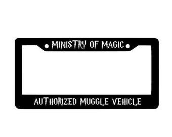 Harry Potter license Plate Frame, Ministry Of Magic, Custom License plate Frame, Car Frame, Custom Decal