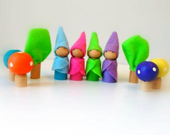 Woodland gnomes - Waldorf dolls - Peg dolls - Small dolls - Wooden dolls - Dollhouse dolls - Colorful dolls - Unique gift - Gnome peg dolls