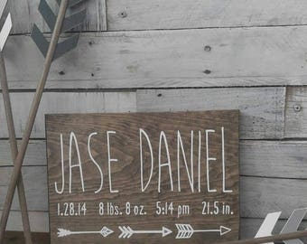 Birth Announcement Wood Sign wall art decor Baby Stats Weight Height Time Rustic Wooden Nursery Arrow
