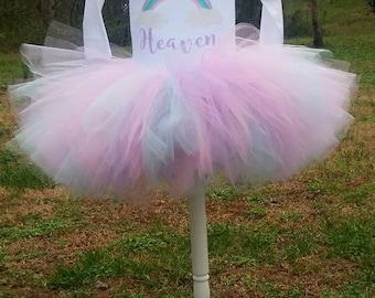 Unicorn Birthday Shirt Tutu outfit rainbow baby Handmade Tulle Skirt Personalized Customized pastel magical one