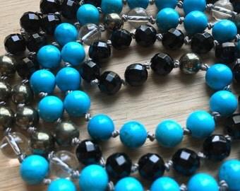 Earth & Sky Black Onyx Mala, Turquoise Magnesite, Pyrite, Prayer Beads, Mala Necklace, healing crystals, gemstone mala