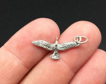 3D Sterling Silver Seagull Charm, Beach, Bird, Animal, .925 Silver, DIY, Bracelet Charms, (C446)