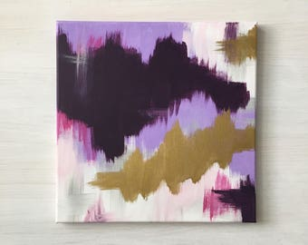 Purple and Gold Abstract Painted Canvas