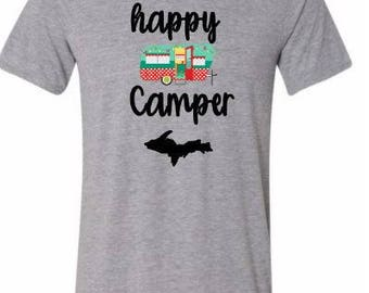 happy camper michigan shirt, white, happy camper, tshirt