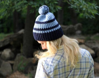 Navy hat navy blue hat warm hat winter beanie blue beanie hat navy beanie womens knit hat cool hat custom hat striped hat striped beanie hat