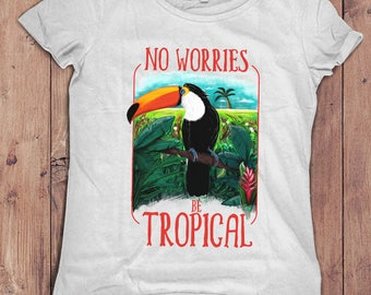 Tropical Toucan   women tshirt for summer holidays