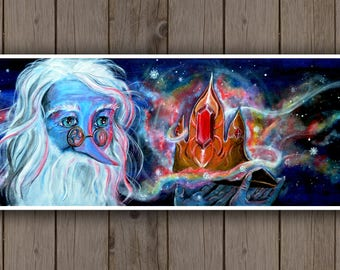 Acrylic Art Print - Adventure Time Art, Ice King Art, Simon Petrikov / Old Wizard Crown Magical Fantasy Fan Art Glowing Snow Crystal Ruby