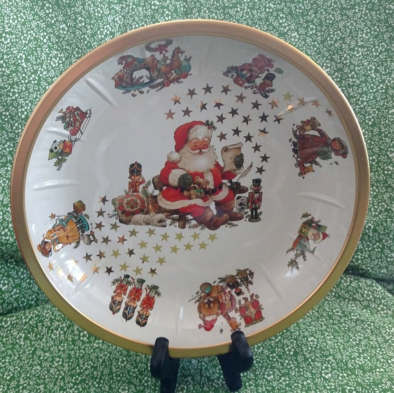 Vintage Christmas Tin Serving Plate/ Tin Serving Bowl - Great for Christmas Holiday Treats - Designed by Giordano Made in West Germany