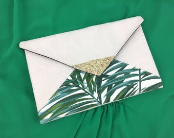 Tropical evening bag, beige suede and gold - glitter bag leaf-Palm tree clutch bag - Green and ecru