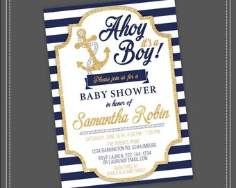 20%OFF SALE Nautical Baby Shower Invitation, Ahoy it's a boy, blue and gold, Navy Blue Stripes, Gold glitter, Boy Baby Shower, Nautical Baby