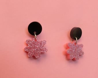 Pink and Black Splatter Geometric Sparkly Earrings