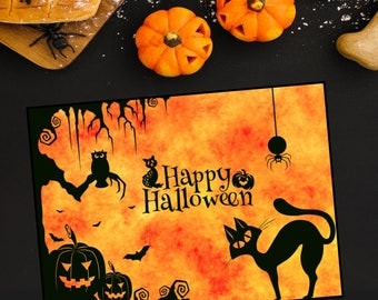 Happy Halloween card, Halloween card, Printable Halloween card, Happy halloween sign, Halloween greetings card, Halloween black cat