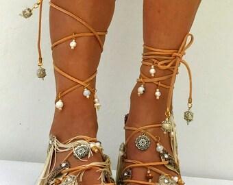 Golden  Bridal  sandals,  flat fringe Wedding Sandals, beige luxury sandals,  Leather sandals, Greek Sandals, Gladiator,  genuine leather