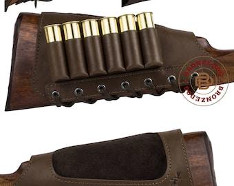 Buttstock Cartridge Holder Leather, Buttstock Ammo, Butt Stock Shell Holder Cover Hunting Right Left, Cheek Padded Buttstock 12 20 Ga