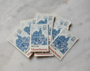 Massachusetts Postage Stamps | 10 Unused Vintage Postage Stamps | 22 Cents | 1988