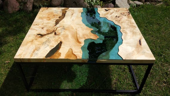 Live edge river coffee table with transparent epoxy inlay