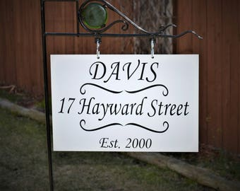 Outdoor sign, Metal Yard sign with Steel Post. Family name sign. Last name sign, Hanging Metal Name sign. Address Sign. State Shape Sign.