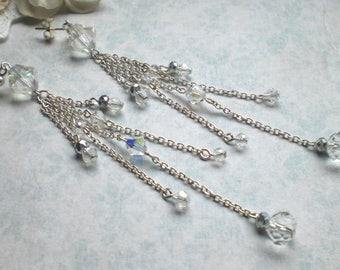 Extra long chain earrings Crystal chain earrings Stunning chain earrings Extravagant long earrings Long silver chain earrings Chain earrings