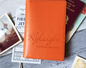 Personalised Passport Cover/Holder With Script Name|for him her Father's Mother's students travel lover gift