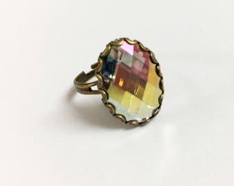 Layla Adjustable Ring -  AB transparent  bezel ring/ brass  ring /boho ring / ring with crystal/ simple ring /black ring / AB rhinestone