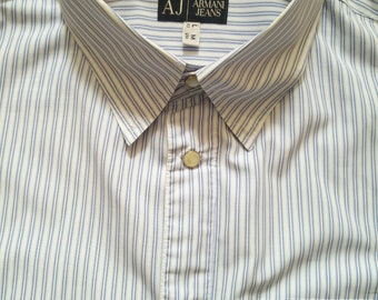Classic 1980's style Armani blue and white striped shirt in 100% cotton