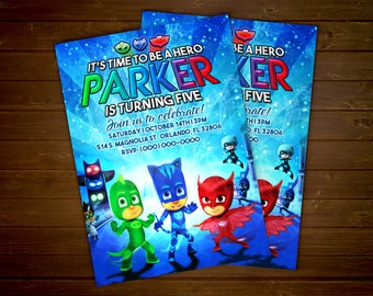 Custom PJ Masks Birthday Party Invitation - 5x7 or 4x6