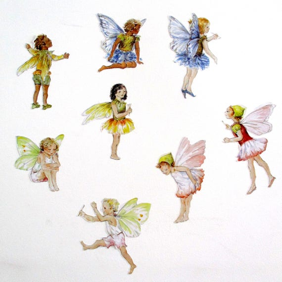 Fairy Wall Stickers Fairy Wall Decals SET OF 8 Watercolor