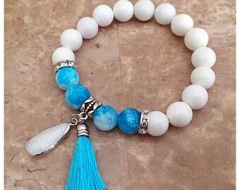 Boho Bracelet, Beach Bracelet, Tassel Bracelet, Tassel Jewelry, Charm Bracelet, Beaded Bracelets, Stretch Bracelet, Beach Jewelry