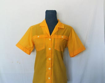 70s Judy Bond Button Up Collared Blouse/Banana Yellow