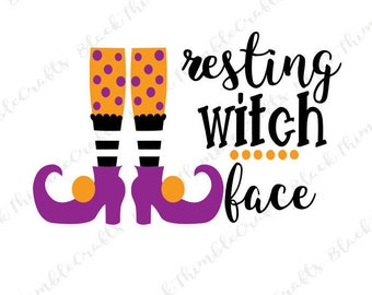 Resting Witch Face svg, autumn svg, halloween svg, trick or treat svg, october svg, fall svg, spooky SVG vector file, witch svg file, diy