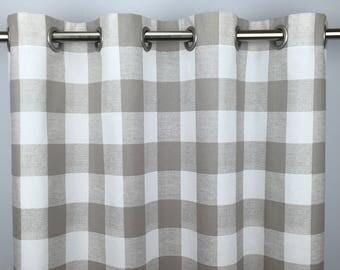 Beige Buffalo Check Curtains - FREE SHIPPING - Ecru Plaid Check - Sand Gingham Drapes - Plaid Drapery - Grommets -24 50 x 63 84 96 108 120