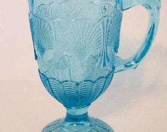 Vintage Creamer Vallerysthal Portieux Shell and Web Creamer Milk Jug Aqua Blue