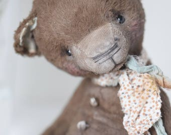 Artist Teddy Bear Friend Forever - available for adoption, artist teddy OOAK, viscose fabric, art toy collectible, teddy bear