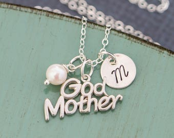Godmother Gift God Mother Necklace • Baptism Gift Godparent Necklace • Sterling Silver Godmother Jewelry Religious Parent Gift