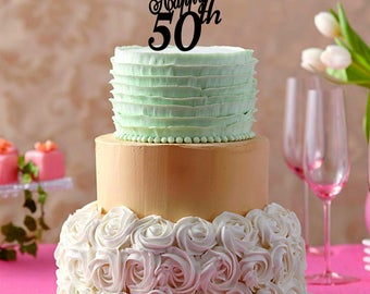 Happy 50 th cake topper, 50th birthday cake topper, 50 years anniversay cake topper, custom number cake topper, Happy 50th cake toppers