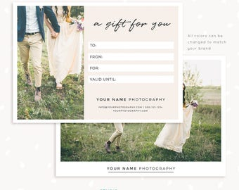 Gift Certificate Template, 7x5 Photo Gift Card, Printable, Photoshop Template, Photography Gift Certificate, PSD, Postcard gift certificate