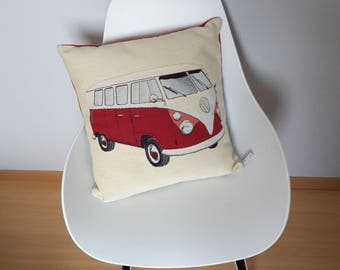 Large cushion cover with a red volkswagen combi on beige background patterns