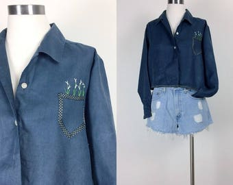 vintage linen blouse/ embroidered/ linen shirt/ linen top/ button down/ women's size S/M