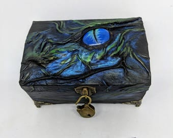 Small Dragon Treasure Chest Wooden Box covered in Genuine Leather for Dice/ Trinkets/ Jewellery etc, with a Hand Painted Glass Cabochon Eye.