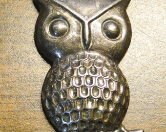 "Cute Vintage Sterling Owl Pendant - Marked 925 - 1"" X 2"" - Great Find!"