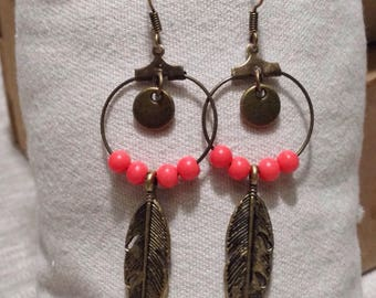 Dangling ring - feather - Pearl - bronze earrings-