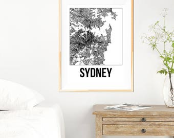 Sydney City Map Print - Black and White Minimalist City Map - Sydney Map - Sydney Art Print - Many Sizes/Colours Available
