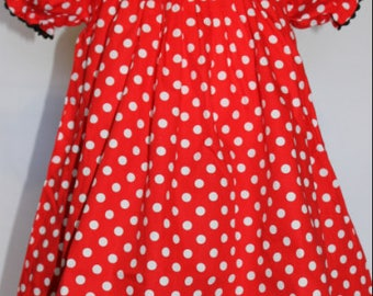 Smocked Mouse Red Polka Dot Dress, Boutique Girls Smock Dress, Minnie Mouse Smock Dress, Minnie Mouse Smock Party Dress